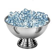 Bar Ice Bucket,SHZONS Stainless Steel Ice Bowl Metal Bar Beer Barrel Champagne Wine Big Ice Bucket,15.35×9.65''