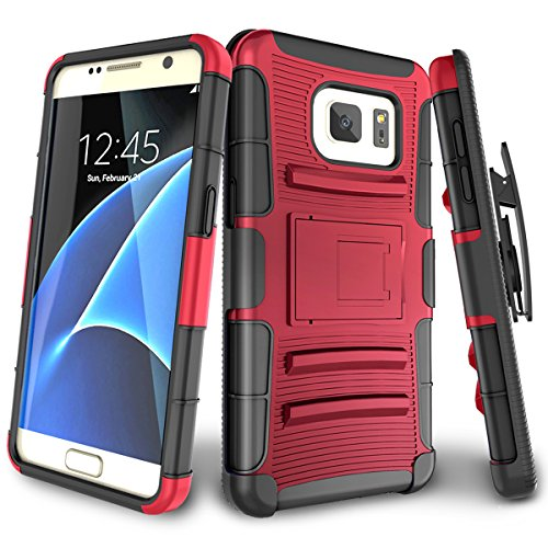 Galaxy S7 Case,TILL [Knight Armor] Heavy Duty Full-Body Rugged Holster Resilient Armor Case [Belt Swivel Clip][Kickstand] Combo Cover Shell for Samsung Galaxy S7 S VII G930 GS7 All Carriers [Red]