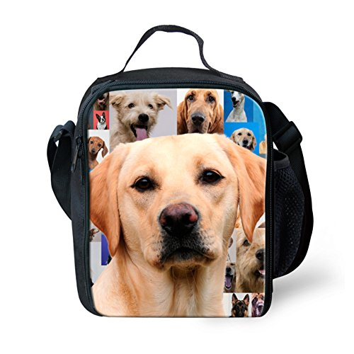 Showudesigns Zoo Animal Portable Sac à déjeuner Adulte Enfants Pique-Nique Nourriture Boîte à Lunch, Polyester, 3D Wolf, Small Animal 7