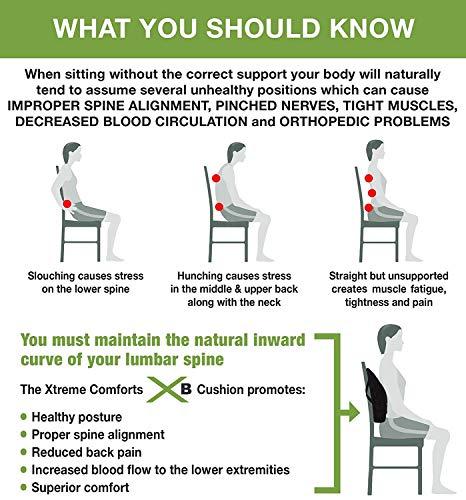 Xtreme Comforts Original Coccyx Orthopedic Memory Foam Seat Cushion with 100% Memory Foam Lumbar Cushion by Xtreme Comforts (Image #3)
