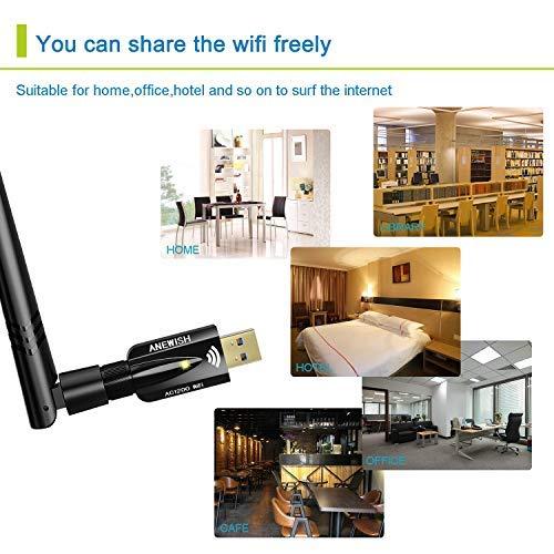 USB WiFi Adapter 1200Mbps, ANEWISH Wireless Adapter USB3 0