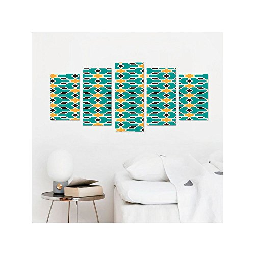 Liguo88 Custom canvas Arabian Decor Collection Arabic Oriental Geometric Shapes Lines with Pastel Middle East Artisitc Persian Bedroom Living Room Wall Hanging Teal Yellow Brown by Liguo88
