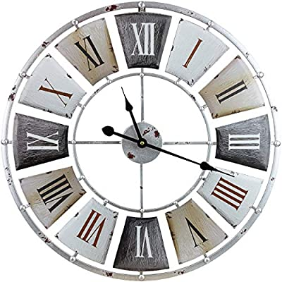 """Sorbus Large Decorative Wall Clock, Centurion Roman Numeral Hands, Vintage Industrial Rustic Farmhouse Style Modern Home Decor Ideal for Living Room, Analog Wood Metal Clock, 24"""" Round - WALL CLOCK — Keep an eye on the hour with a decorative wall clock, featuring a classic roman numeral design and accurate analog time display SOFT TICKING SOUND — Runs calm and smoothly — High quality quartz clock movement — No more loud annoying ticking sounds, simply enjoy peace as time goes by STYLISH & FUNCTIONAL — Beautiful statement piece for style and function — Great solution for empty wall space as standalone or gallery display wall accent — Fits most décor whether industrial, country, rustic farmhouse, vintage retro, etc — Suitable for kitchen, dining, living room, bedroom, foyer, hallway, bar, restaurant, coffee house, shop clock, bathroom clock, office wall clock, and more - wall-clocks, living-room-decor, living-room - 51GzNOv dSL. SS400  -"""
