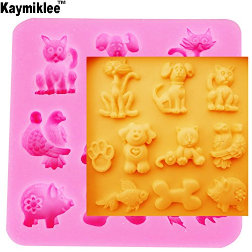 (M082 Cute cat dog fish bird pig silicone fondant cake molds soap chocolate mould for the kitchen baking clay mould)