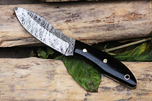 (BLACK MAMBA KNIVES BMK-107 Jaguar 3 Inches Blade Damascus Small Skinner Hunting Fixed Blade Knife)