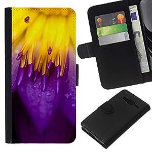 LECELL--Cuero de la tarjeta la carpeta del tirón Smartphone Slots Protección Holder For Samsung Galaxy Core Prime -- Rojo y púrpura --