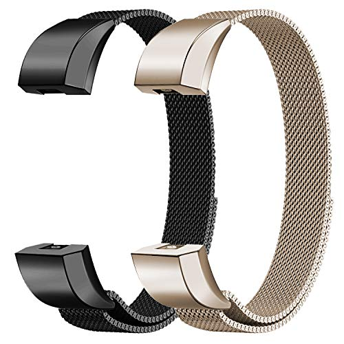 "Oitom for Fitbit Alta HR Accessory Bands and for Fitbit Alta Band, (2 Pack Black+Champagne, Small 5.1""-6.7"")"