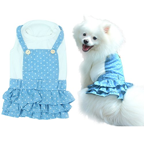 OFPUPPY Polka Dots Small Puppy Dress Denim Overalls for Girl Dogs