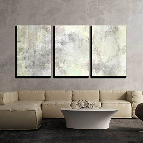 wall26 - 3 Piece Canvas Wall Art - Art Abstract Acrylic Background in Light Grey and White Colors - Modern Home Decor Stretched and Framed Ready to Hang - 24
