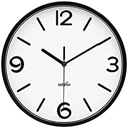 HIPPIH 10 Inch Silent Wall Clock - Non-Ticking Universal Indoor Decorative Clocks for Office/Kitchen/Bedroom/Living Room