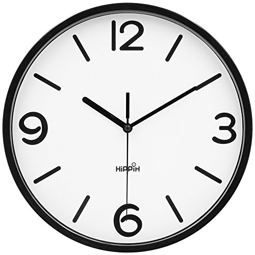 - HIPPIH 10 Inch Silent Wall Clock - Non-Ticking Universal Indoor Decorative Clocks for Office/Kitchen/Bedroom/Living Room