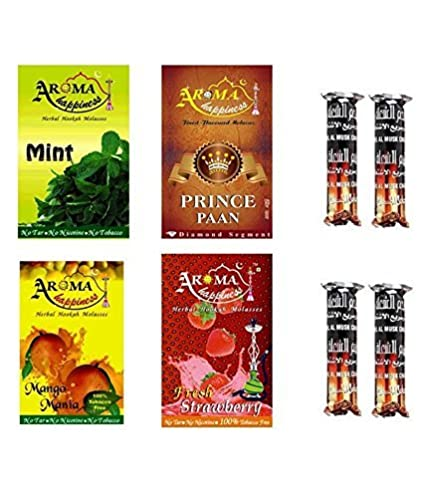 Alshan Aroma Happiness Herbal Hookah Flavour Combo of 4 Pack Plus 4 Rolls of Charcoal