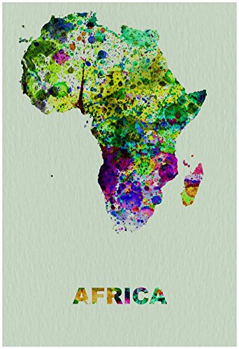 Africa Color Splatter Map Poster by NaxArt 13 x 19in from Poster Revolution