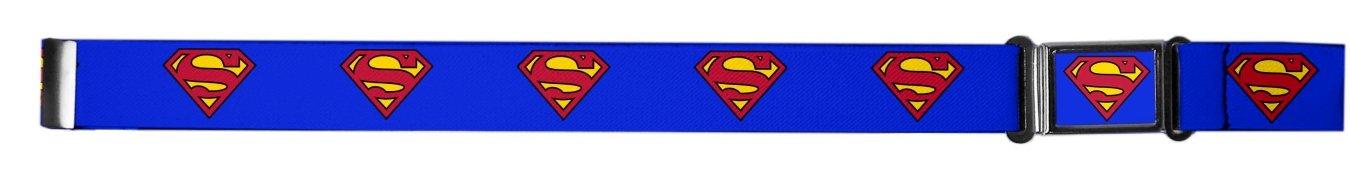 Buckle Down Kids Magnetic Buckle Superman Stretch Belt, Blue