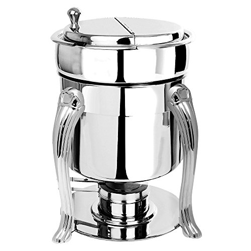 Queen Anne Chafing Dish - Eastern Tabletop 3107QA-SS Queen Anne 7 Qt. Stainless Steel Sauce / Soup Marmite with Hinged Lid