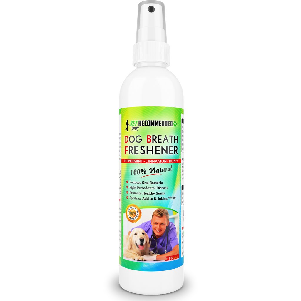 Vet Recommended Dog Breath Freshener & Pet Dental Water Additive (8oz/240ml) All Natural - Perfect for Bad Dog Breath & Dog Teeth Spray. Spray in Mouth or Add to Pet's Drinking Water. USA Made.
