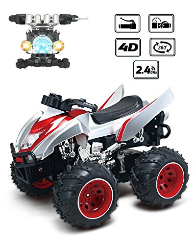 (POCO DIVO 4D Dynamic ATV 2.4Ghz RC Stunt Car with Simulate Motorcycle Controller (Silver))