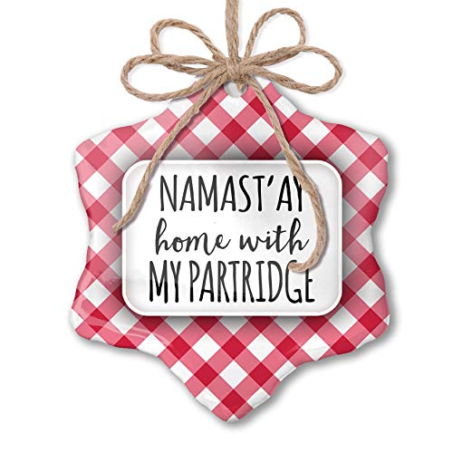 NEONBLOND Christmas Ornament Namast'ay Home with My Partridge Simple Sayings Red Plaid (Shopping Bag Partridge Family)