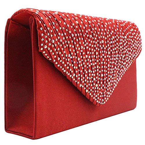 Bag KARRESLY Evening Womens Purse Bridal Handbag Flap Clutch Pleated Red Party Envelope Diamante xI1wgI