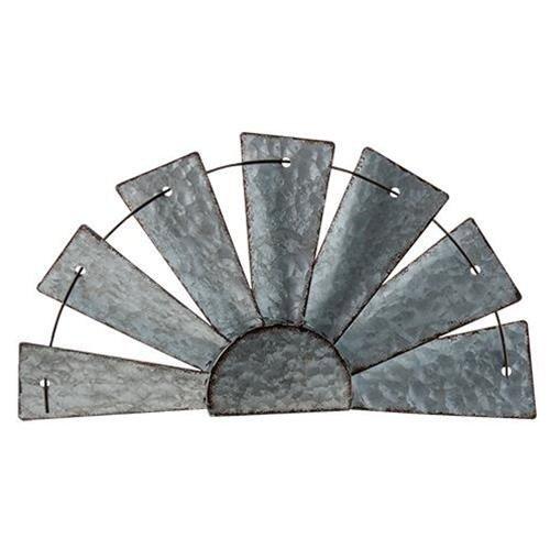 CWI Gifts Galvanized Half Windmill Wall Art, Multicolor (Metal Windmill)