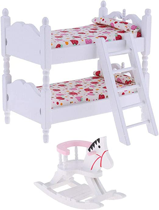 Mini Furniture Bedroom Doll Bunk Bed Dollhouse Kid Girl Toy Gift 1:12 Doll House