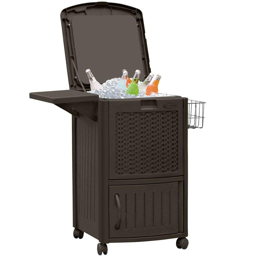 Suncast Wicker Outdoor Cooler with Wheels - Portable Outdoor Bar Cart to Store Ice, Drinks, and Frozen Treats - Store on Deck or Patio - Dark Brown by Suncast