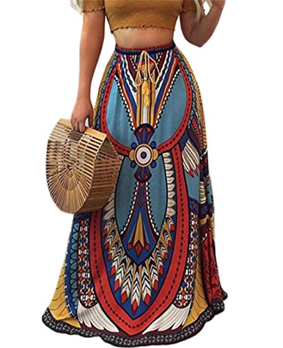 Gnao Womens Elastic Waist Africa Print Drawstring Boho Long Maxi Skirts As Picture XS by Gnao
