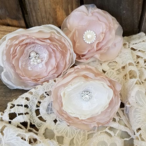 Fabric Flowers a wonderful craft supply for your DIY Wedding projects or making your own Bridal Flowers Champagne and Ivory Flowers set of 3 from Burlap And Bling Design Studio