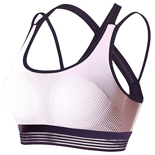 DSTANA Sports Bras for Women - Breathable Cross Back Workout Yoga Gym Running Bra (L Fit 34D 36A 36B 36C, Deep purple)