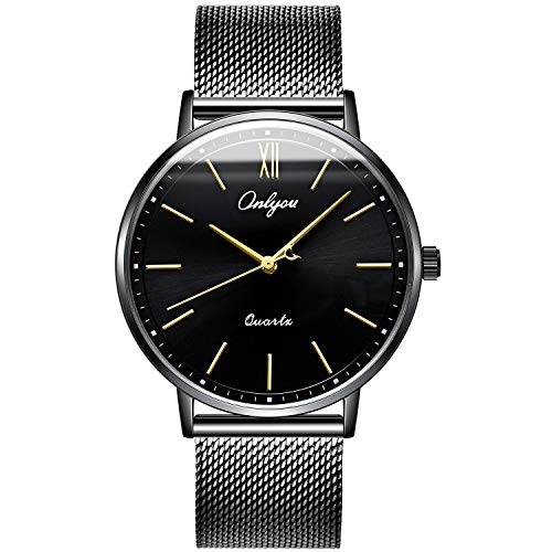 ONLYOU Men's Fashion Watches,Unique Face Design and 30m Waterproof,Analog Quartz Wristwatches with Stainless Steel Mesh Band (Black) by onlyou