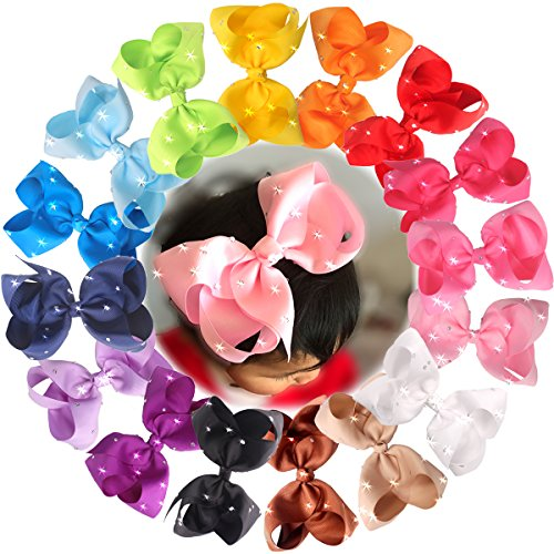 Discount CELLOT 6 Inches Big Hair Bows Clip Glitter Rhinestones Large Boutique Cheer Bows Alligator Hair Clips For Baby Girls and Toddlers Hair Accessory Pack of 16