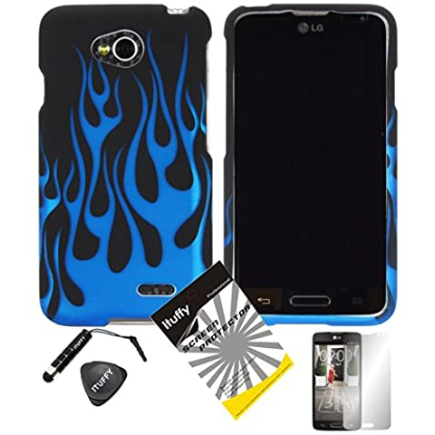 4 items Combo: ITUFFY (TM) LCD Screen Protector Film + Mini Stylus Pen + Case Opener + Design Rubberized Snap on Hard Shell Cover Faceplate Skin Phone Case for Android Smart Phone LG Optimus L90 / LG D415 (T-Mobile) (Blue (Butterfly Pond Kit)