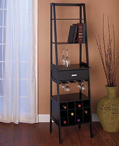 Black Ladder Shelf Storage with Wine Rack by LTD