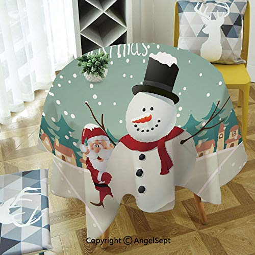 Polyester Fabric Tablecloth,Merry Christmas Cartoon with Santa Snowman Pines Houses Winter Decorative Soil Resistant Holiday Tablecloth, 47 Inch Round,Almond Green Eggshell Red