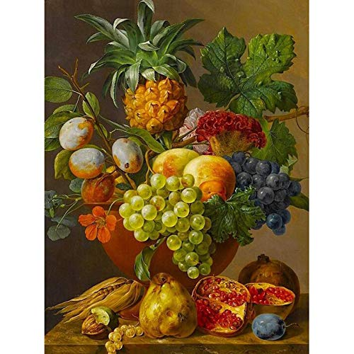 Paint by Numbers for Kids Adults DIY Oil Painting Kit Beginner [Wooden Frame] - Fruit vase 16