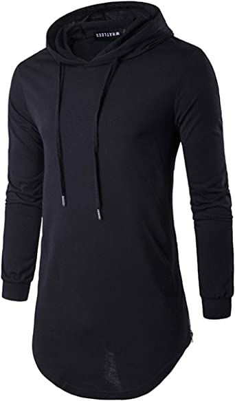 Hip Hop Sweatshirts Pullovers for Mens Crew Neck Leisure Long Sleeve Cotton Hoodied Sweater Shirts Tall Tops Black M