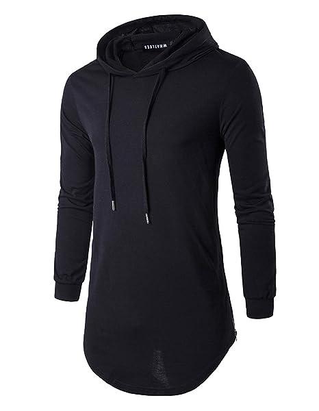 f85771401 Defal Mens Hipster Long Sleeve Side Zipper Hooded Shirt Pullover Sweatshirt