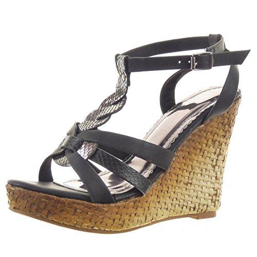 Sopily - Zapatillas de Moda Sandalias Tacón escarpín correa Zapatillas de plataforma Tobillo mujer brillantes Piel de serpiente multi-correa Talón Plataforma 11.5 CM - Negro