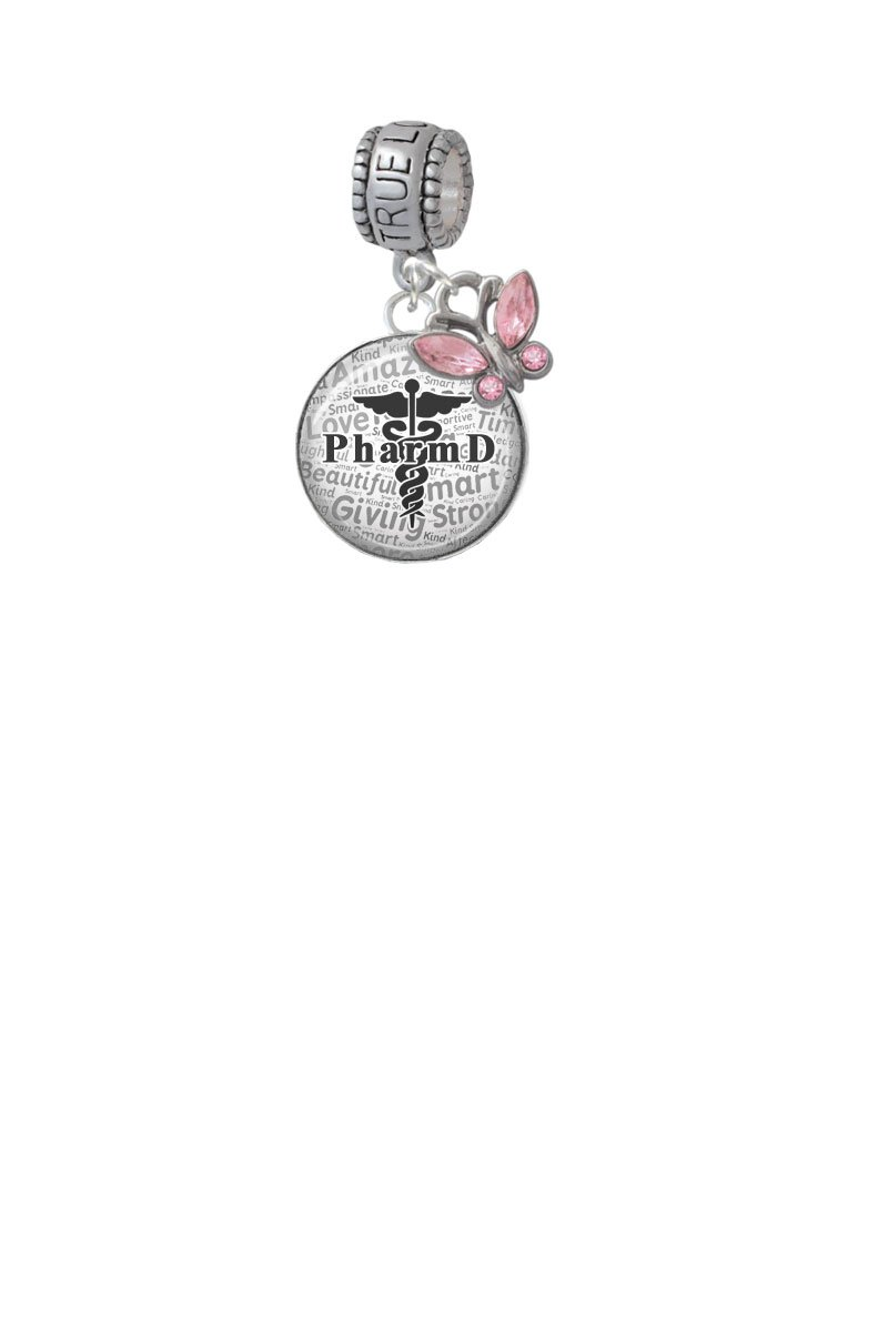 Domed Black PharmD True Love Waits Charm Hanger with Mini Pink Butterfly