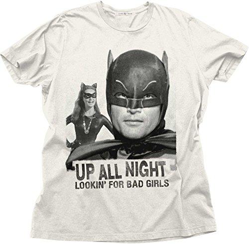 (Junk Food Men's Batman Up All Night Bad Girls T-Shirt, Ivory,)