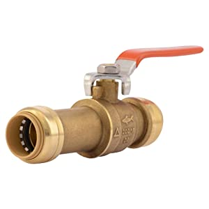 SharkBite 24736LFA Slip Ball Valve 3/4 Inch, Water Valve Shut Off, Push-to-Connect, PEX, Copper, CPVC, PE-RT
