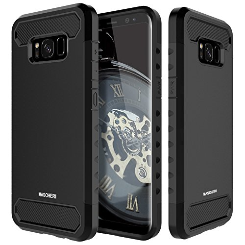 Price comparison product image Galaxy S8 Case, Mascheri Shock Absorbing Rugged Dual Layer Protective Scratch Resistant Hybrid Defender Cover Case for Samsung Galaxy S8 - Black