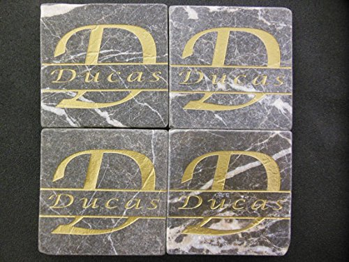Personalized Stone Coaster Set of 4 Sandblast Engraved Granite (Engraved Drinks Gift)