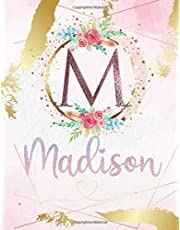 Madison: Personalized Sketchbook with Letter M Monogram & Initial/ First Names for Girls and Kids. Magical Art & Drawing Sketch Book/ Workbook Gifts for Her (Artists & Illustrators) to Create & Learn to Draw - Girly Rose Gold Watercolor Cover.