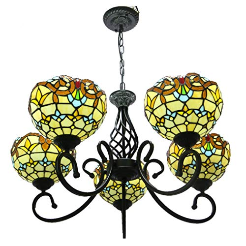 European Retro Baroque Multi-Head Chandelier Tiffany Style Stained Glass Pendant Lights Bedroom Dining Room Living Room Hall Wrought Iron Lighting (Multi Chain Wrought Iron)