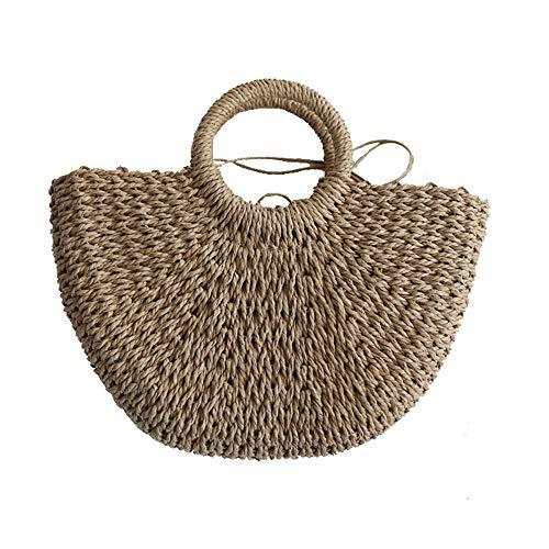Womens Summer Beach Handbag Shopper Basket Casual Handle Bag Tote for Travel Shopping and Everyday Use