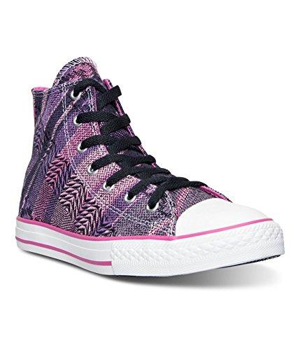 Converse Girl's Chuck Taylor Hi Dahlia / Black Ankle-High Canvas Fashion Sneaker - 4.5M