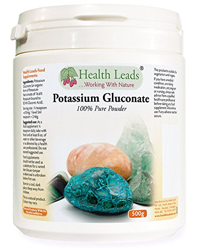 Potassium Gluconate Powder 500g | Magnesium Stearate Free & No additives or fillers | Potassium contributes to Normal Muscle Function | Non GMO | Vegan | Produced in Wales