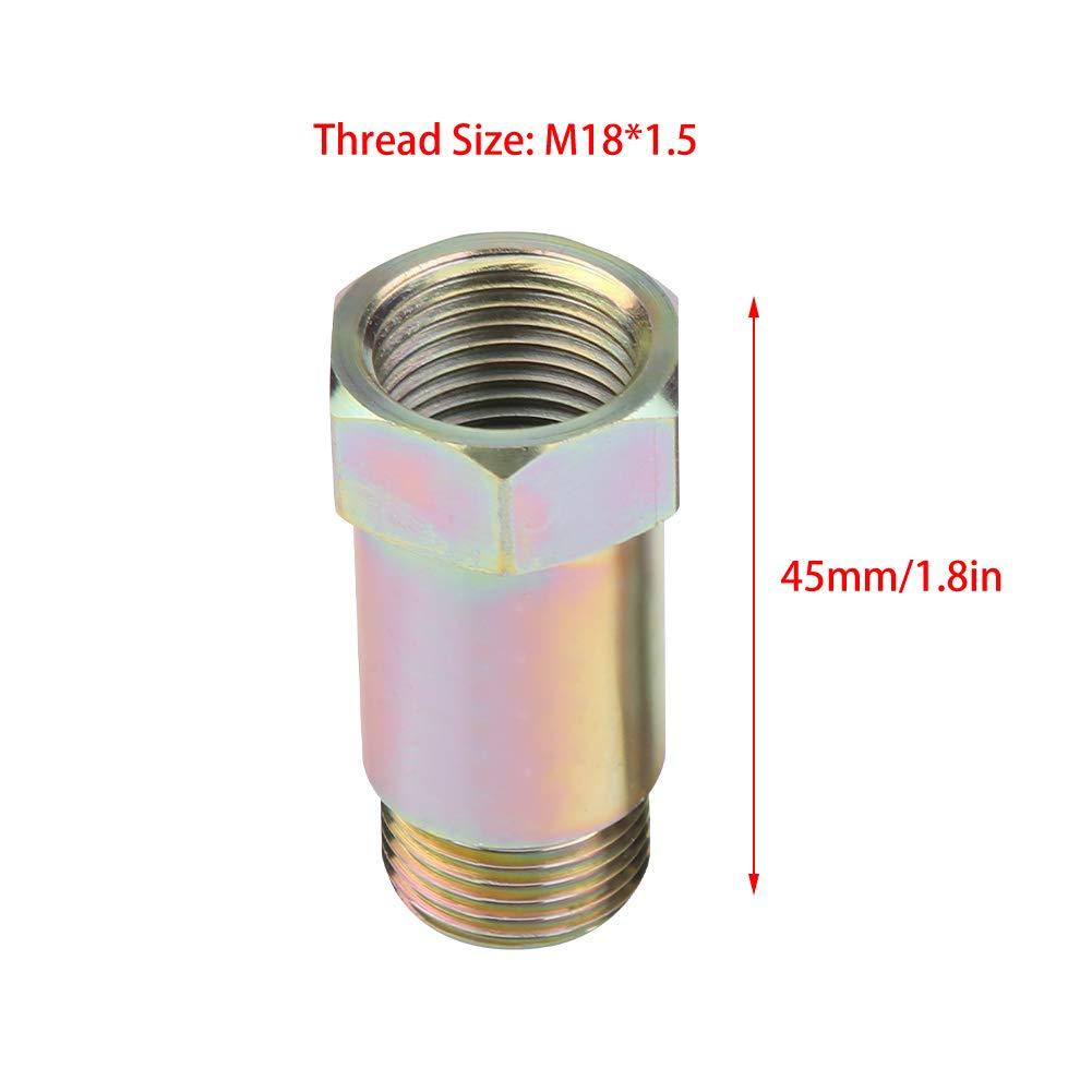 Adaptador del sensor de ox/ígeno de acero x2 Qiilu Extensi/ón del sensor de ox/ígeno 45mm Universal M18*1.5 amarillo