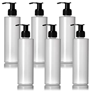 6 Pack of Refillable 8 Oz. Plastic Pump Dispenser Bottles for Lotion, Massage Oil, Shampoo and More! - BPA/Latex Free
